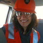Producerin Pilar Pezoa im Minen-Outfit